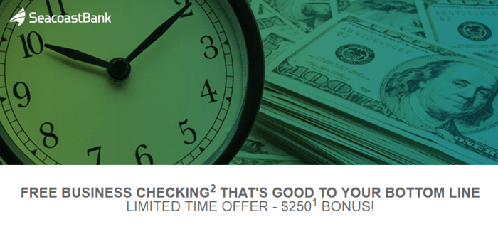 seacoast bank business checking bonus 250
