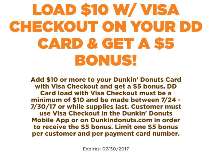 dunkin donuts visa checkout bonus