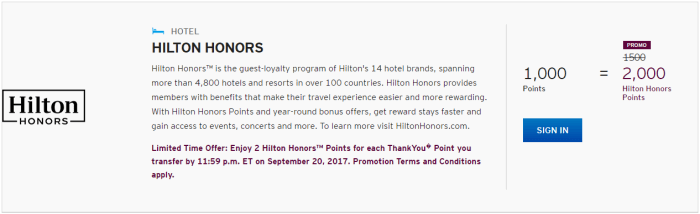 thankyou points hilton bonus