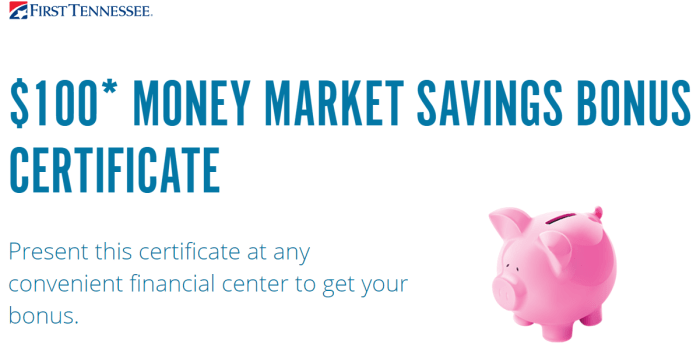 First Tennessee Bank 100 money market bonus