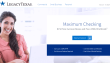 LegacyTexas bank checking bonus 150