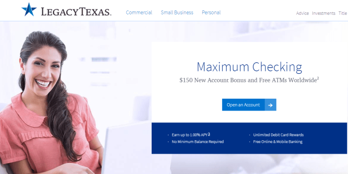 LegacyTexas bank 150 bonus