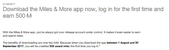 lufthansa miles & more app bonus 500