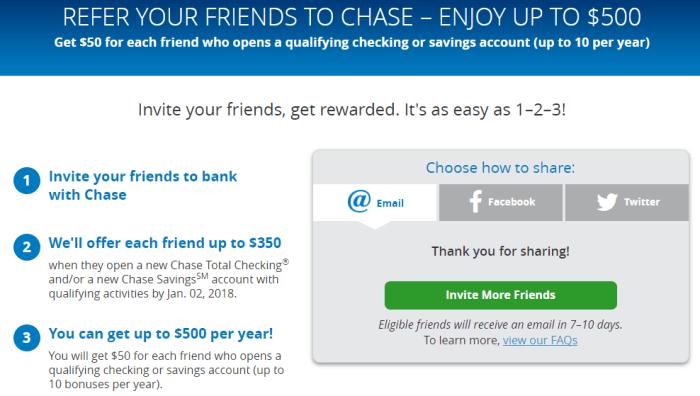 chase bank bonus referral 50 350