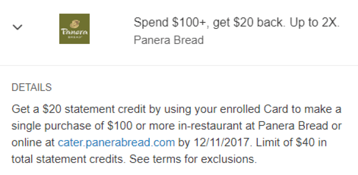 panera bread amex offer
