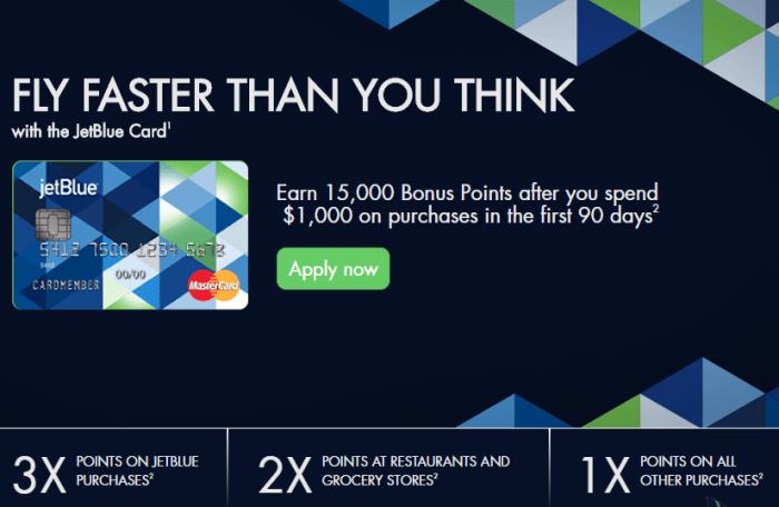 No Fee JetBlue Card 15K bonus