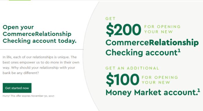 Commerce Bank, $300 Checking And Money Market Bonus