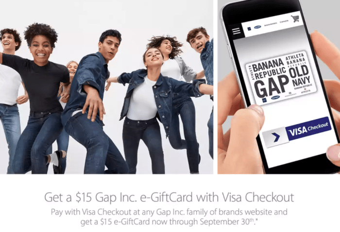 gap visa checkout offer
