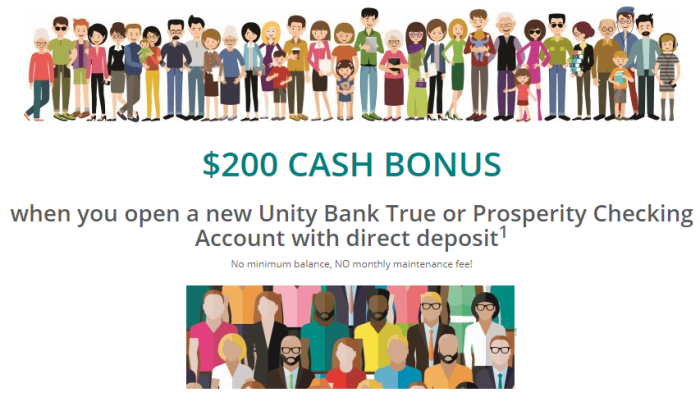 Unity Bank, $200 Checking Account Bonus