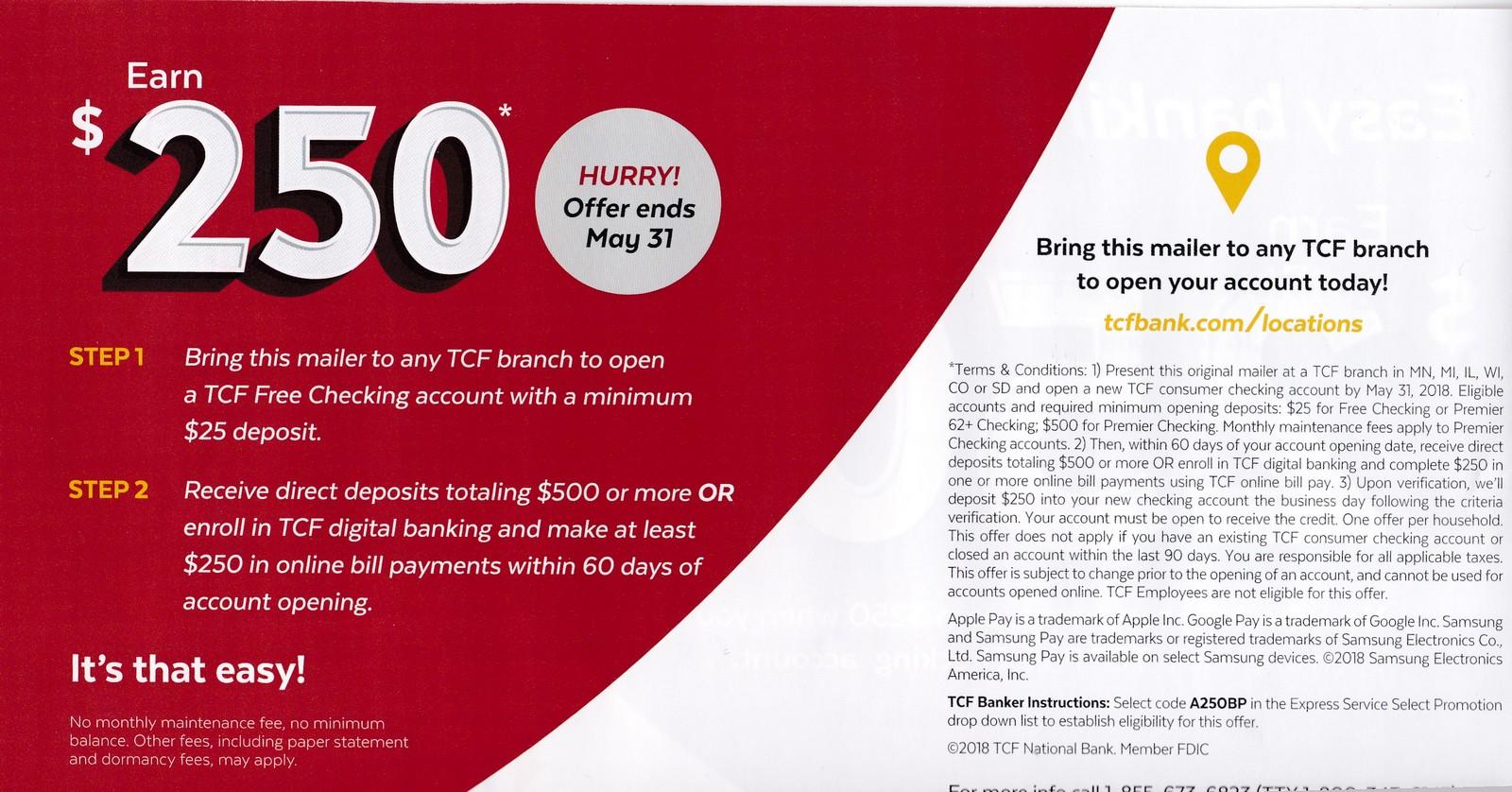 Expired] TCF Bank, $250 Checking Account Bonus (Targeted