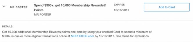 mr porter amex offer