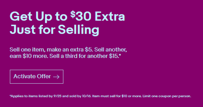 Get Extra 30 When You Sell Three 10 Items On Ebay Targeted Danny The Deal Guru