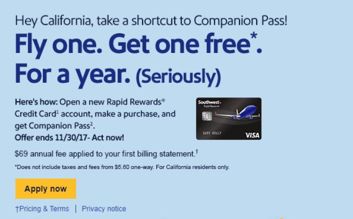 California Southwest Companion Pass Offer. Open a new Rapid Rewards ...