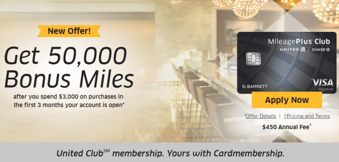 Chase United MileagePlus Club Card 50K