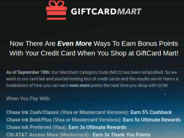 5x On Gift Card Purchases At GiftCard Mart