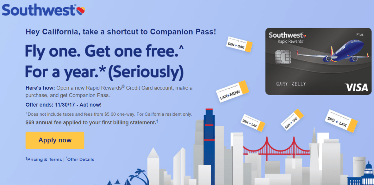 Get Companion Pass With New Southwest Credit Card And One Purchase, Link Available (CA Only)