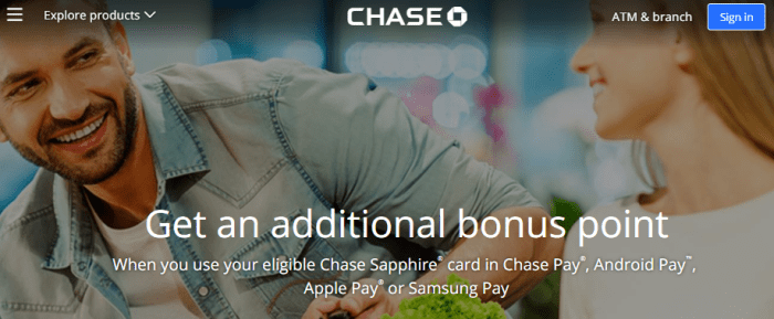chase sapphire android samsung apple pay promo
