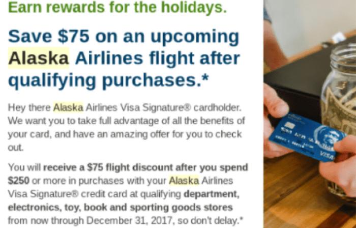 Alaska Airlines Credit Card $75 Flight Discount