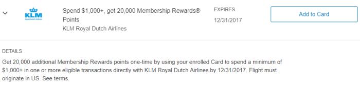 KLM Amex Offer
