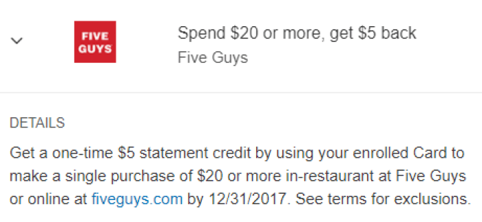 Five Guys Amex Offer