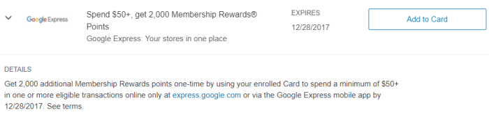 Google Express Amex Offer