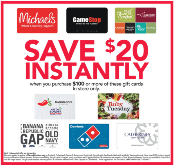 OfficeMax Gift Card Deal
