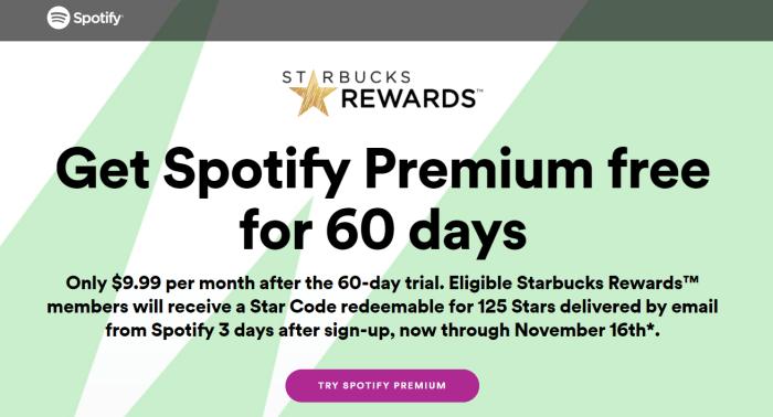 spotify starbucks offer