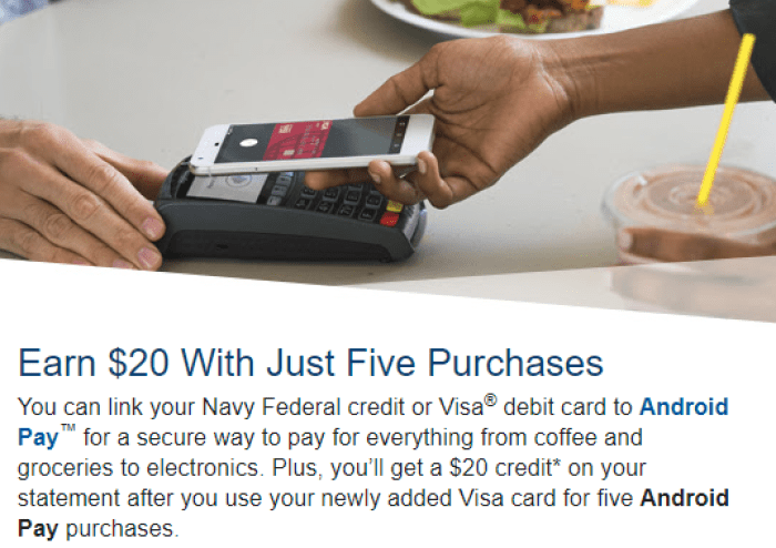 NFCU Android Pay offer