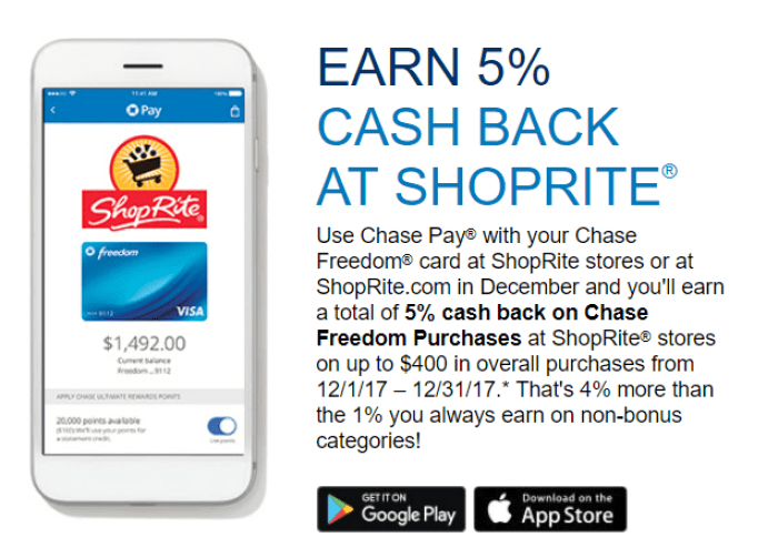 5% Cashback At ShopRite With Chase Pay
