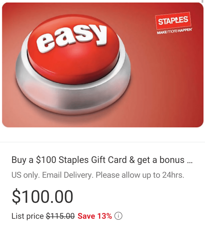 Ebay Buy 100 Staples Gift Card And Get 15 Ebay Card Danny The Deal Guru