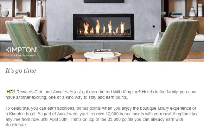 10,000 Bonus Points With Kimpton Stays