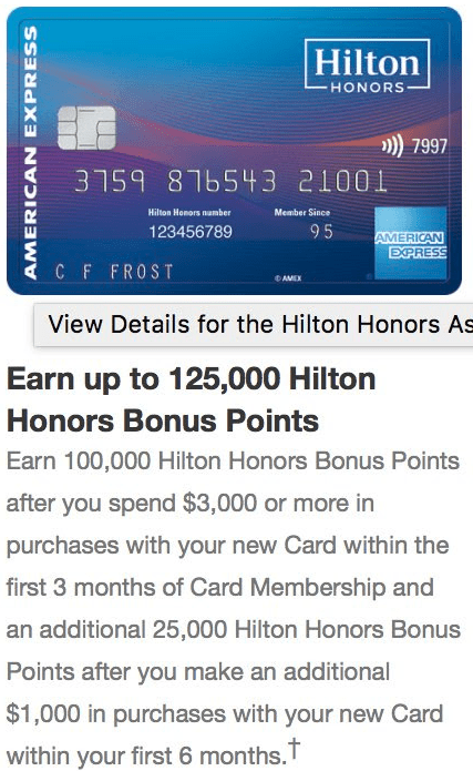 Amex Hilton Ascend 125K Offer