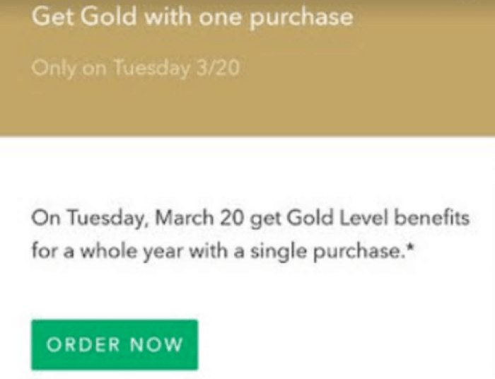 starbucks gold status