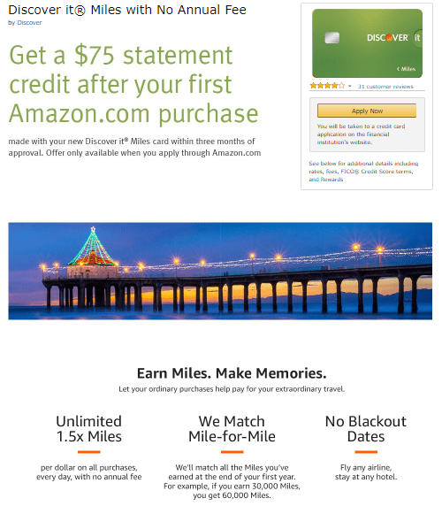 discover it miles amazon offer