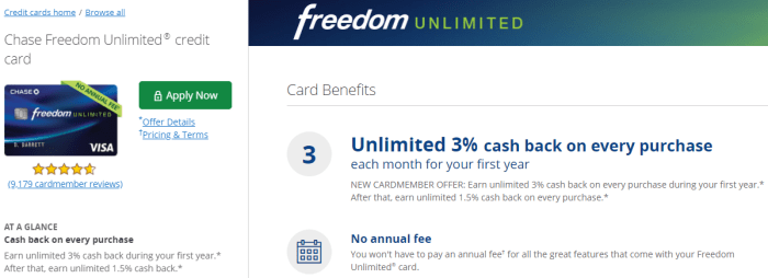 New Chase Freedom Unlimited Offer