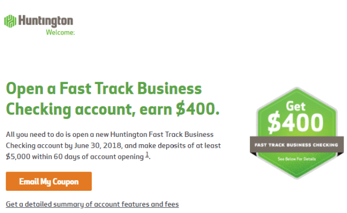 Huntington Bank $400