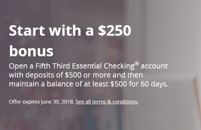 Fifth Third Bank $250 Bonus