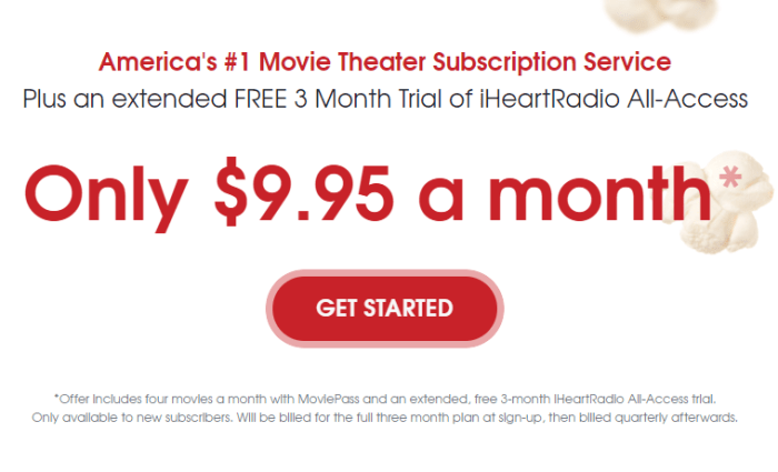 moviepass 4 movies a month