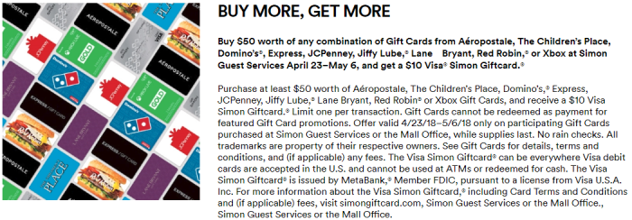 Simon Mall Gift Card Deal
