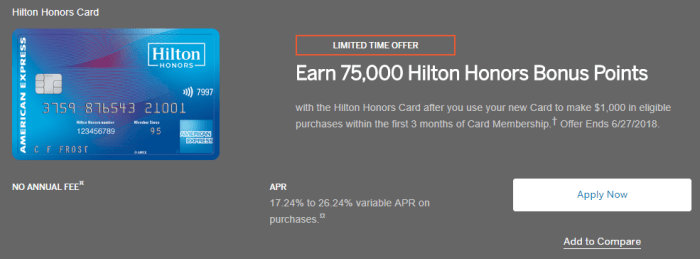 Amex Hilton Honors Card 75k bonus
