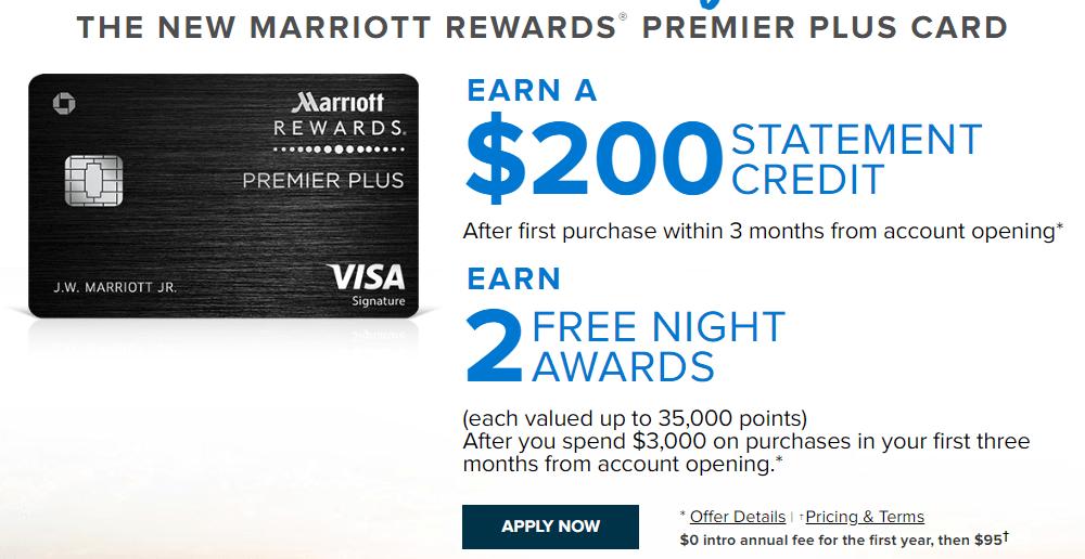 Chase Marriott Rewards Premier Plus Card: 2 Free Nights, $200, Waived AF