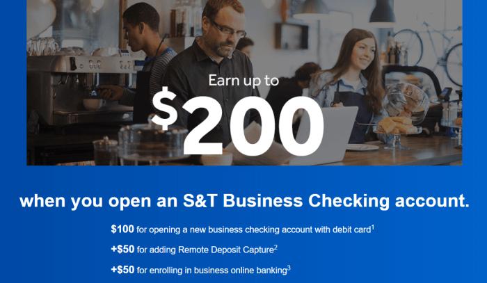 S&T Bank, $200 Business Checking Bonus