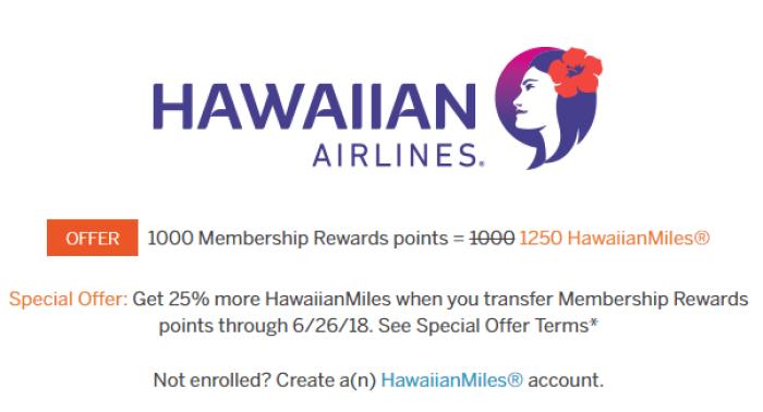 amex hawaiian transfer bonus
