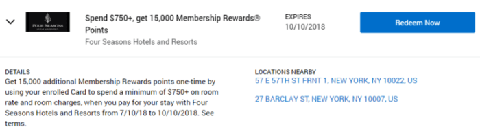 Four Seasons Amex Offer