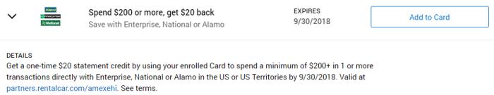 Enterprise, National or Alamo Amex Offer