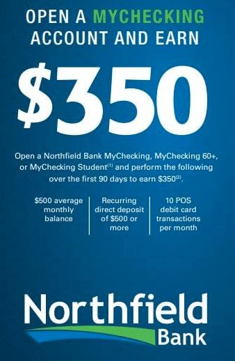 Northfield Bank $350 Bonus