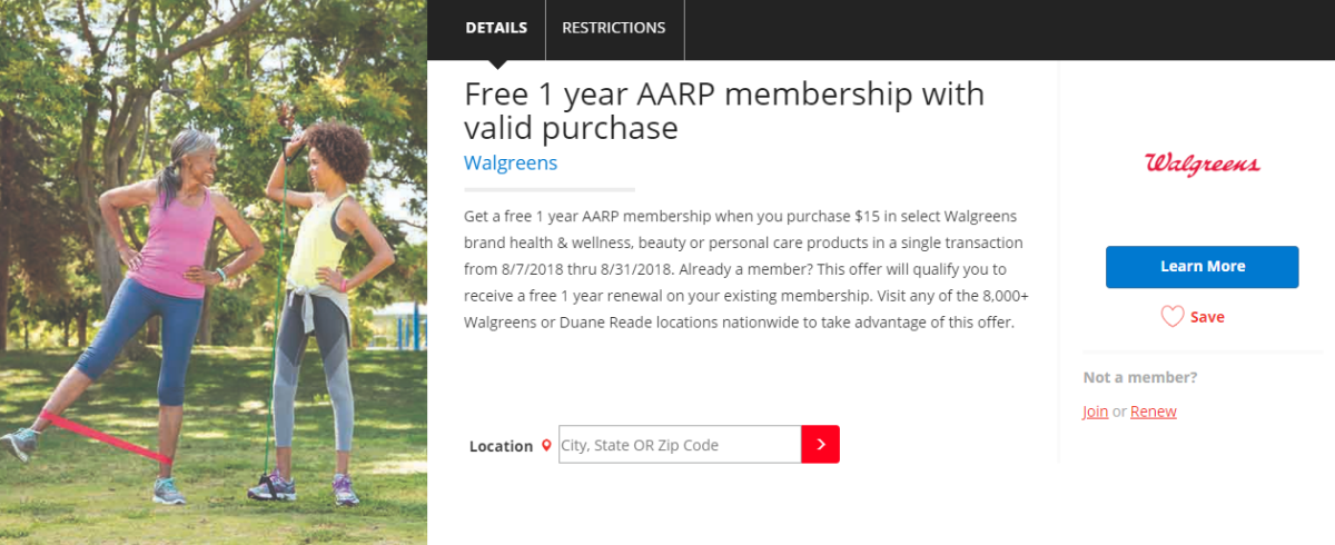 Free AARP Membership With $15 Walgreens or Duane Reade Purchase