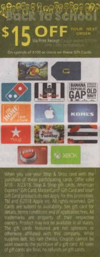 stop & shop gift card discount
