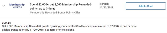 Membership Rewards Amex Offer