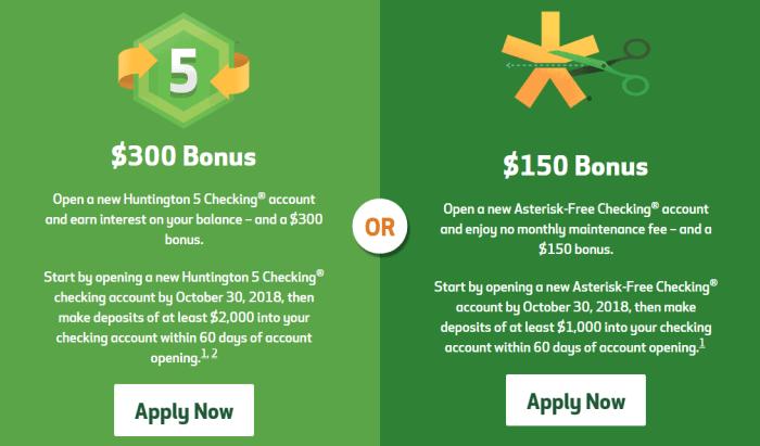 Huntington National Bank $300 Checking Account Bonus